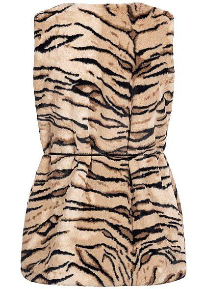 Styleboom Fashion Damen Kunstfell Weste Tiger Print inkl. Gürtel camel braun