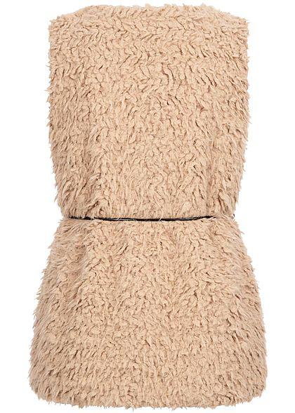 Styleboom Fashion Damen Teddyfell Weste 2-Pockets inkl. Gürtel camel braun
