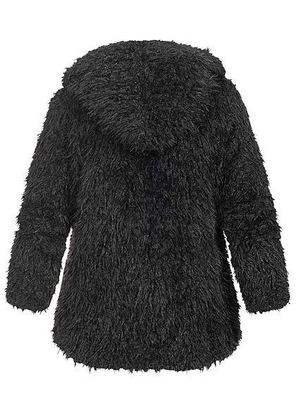 Styleboom Fashion Damen Kunstfell Kurz Cardigan Kapuze schwarz