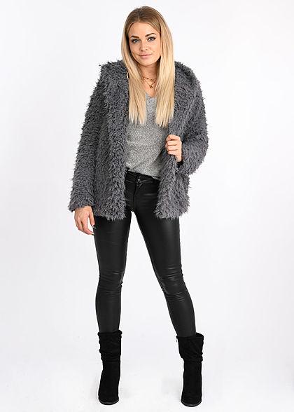 Styleboom Fashion Damen Kunstfell Kurz Cardigan Kapuze grau