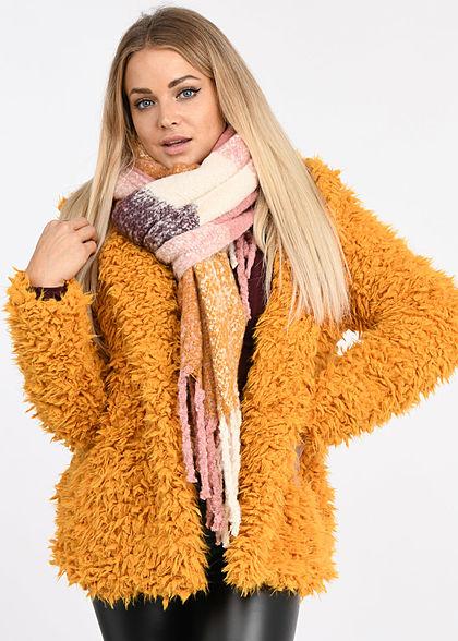 Styleboom Fashion Damen Kunstfell Kurz Cardigan Kapuze gelb