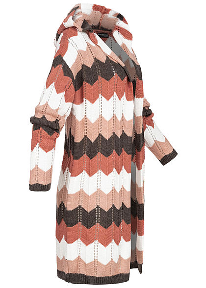 Styleboom Fashion Damen Multicolor Zick Zack Cardigan Kapuze rosa weiss braun