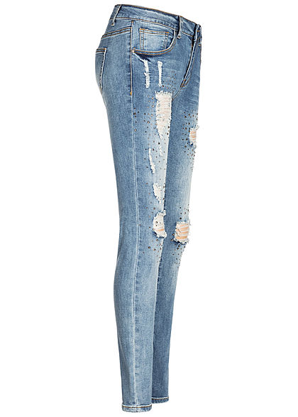 Seventyseven Lifestyle Damen Skinny Jeans 5-Pockets Nieten Destroy Look medium blau den