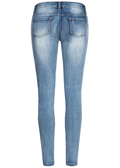 Seventyseven Lifestyle Damen Biker Zip Jeans 5-Pockets hell blau denim