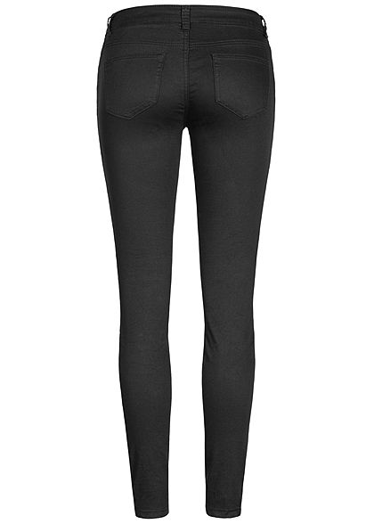 Seventyseven Lifestyle Damen Biker Zip Jeans 5-Pockets schwarz denim