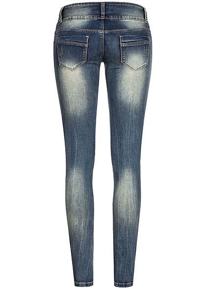 Seventyseven Lifestyle Damen Skinny Jeans 5-Pockets breiter Bund dunkel blau denim