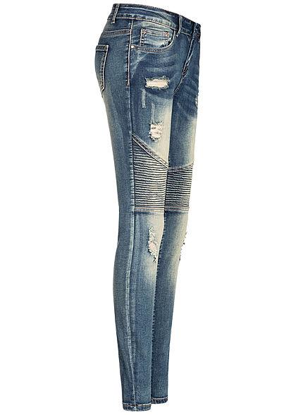 Seventyseven Lifestyle Damen Biker Skinny Jeans 5-Pockets Destroy Look dunkel blau den
