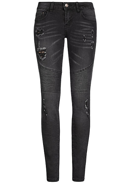Seventyseven Lifestyle Damen Biker Jeans 5-Pockets Destroy Look schwarz denim