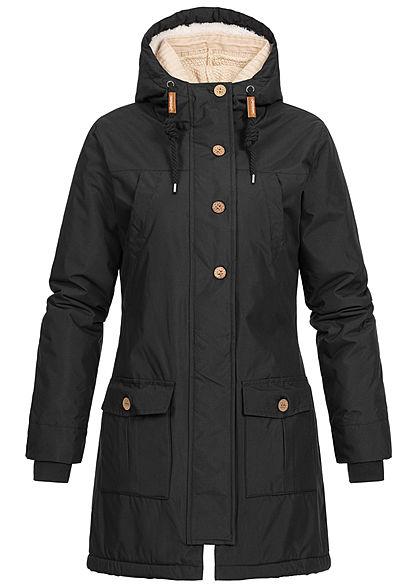 Seventyseven Lifestyle Damen Winter Jacke Kapuze 6-Pockets Strickeinsatz schwarz