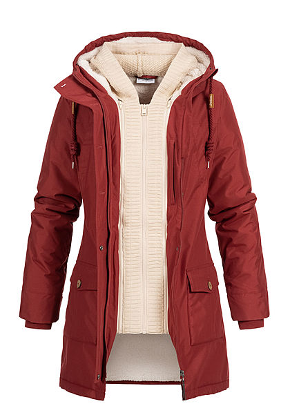 Seventyseven Lifestyle Damen Winter Jacke Kapuze 6-Pockets Strickeinsatz bordeaux rot