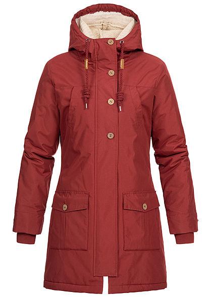 Seventyseven Lifestyle Damen Winter Jacke Kapuze 6-Pockets Strickeinsatz bordeaux rot