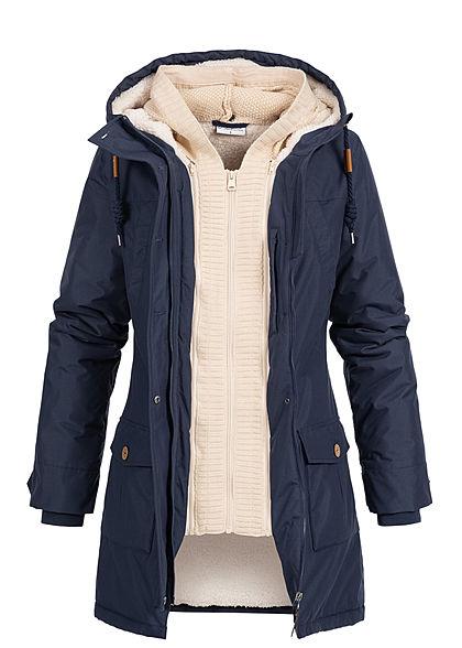 Seventyseven Lifestyle Damen Winter Jacke Kapuze 6 Pockets Strickeinsatz navy blau