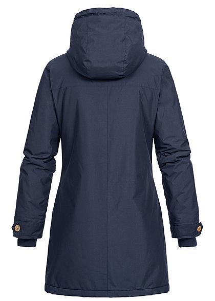Seventyseven Lifestyle Damen Winter Jacke Kapuze 6-Pockets Strickeinsatz navy blau