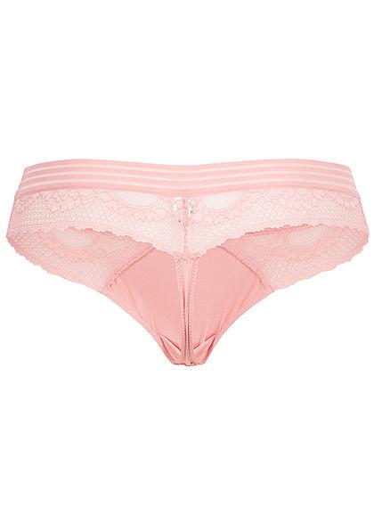 Seventyseven Lingerie Damen 2er-Set Spitzen String Slips hell rosa