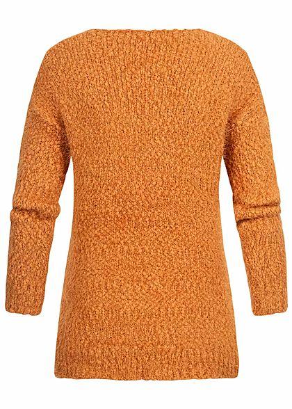 Seventyseven Lifestyle Damen V-Neck Strickpullover pumpkin orange