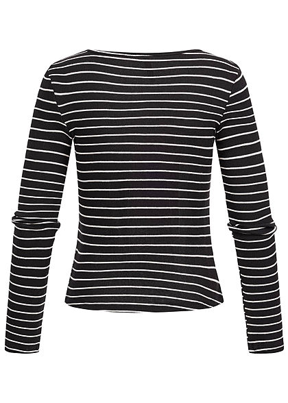 Seventyseven Lifestyle Damen Ripp Longsleeve Streifen Muster schwarz