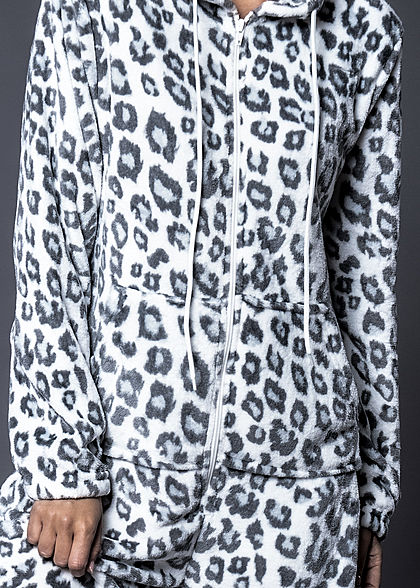 Seventyseven Lifestyle Damen Jumpsuit Kapuze Leo Print 2-Pockets weiss grau