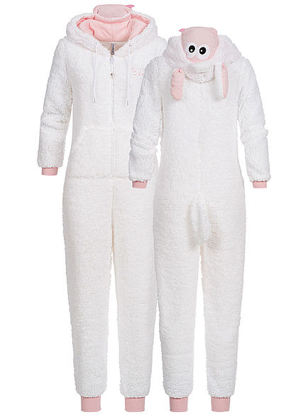 Seventyseven Lifestyle Damen Schaf Animal Jumpsuit Zipper 2-Pockets weiss rosa - Art.-Nr.: 19119017