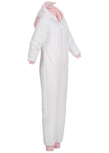 Seventyseven Lifestyle Damen Schaf Animal Jumpsuit Zipper 2-Pockets weiss rosa
