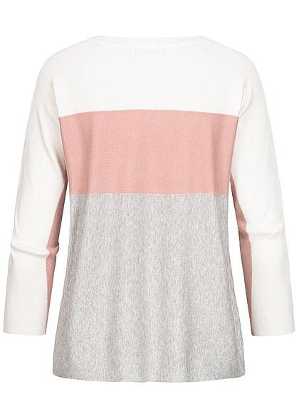 Hailys Damen 3/4 Arm Colorblock Pullover rosa grau weiss