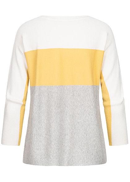 Hailys Damen 3/4 Arm Colorblock Pullover gelb grau weiss