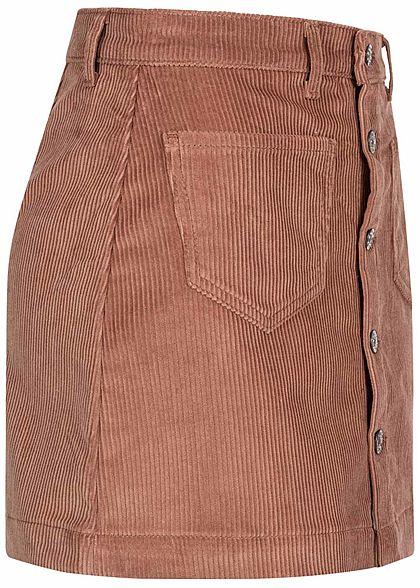 ONLY Damen NOOS Cord Rock 2-Pockets Knopfleiste burlwood dunkel rosa