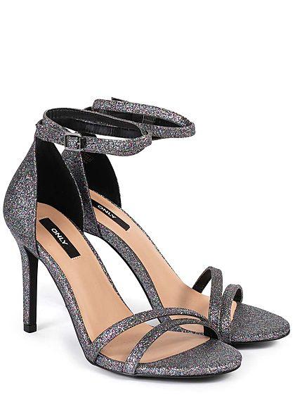 ONLY Damen Schuh Glitzer Pump Sandale Absatz 10cm dunkel grau multicolor