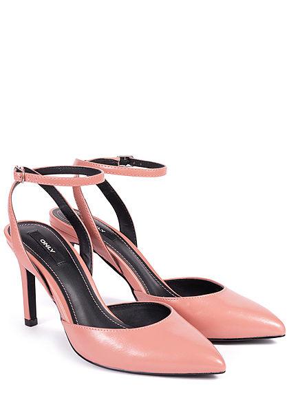 ONLY Damen Schuh Pump Sandale Absatz 10cm Kunstleder rosa pink