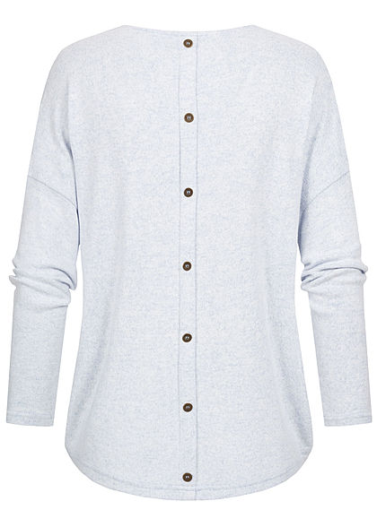 ONLY Damen Oversized V-Neck Soft-Touch Melange Pullover kentucky hell blau