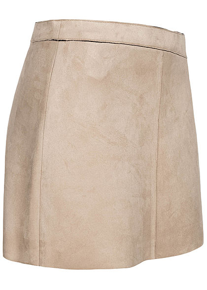 ONLY Damen Kunstleder Mini Rock Velour-Optik Zipper hinten pumice stone beige