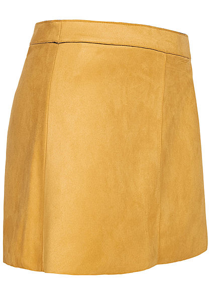 ONLY Damen Kunstleder Mini Rock Velour-Optik Zipper hinten golden apricot gelb