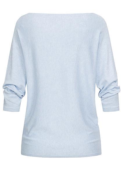 Hailys Damen 3/4 Fledermausarm Longform Pullover marl hell blau