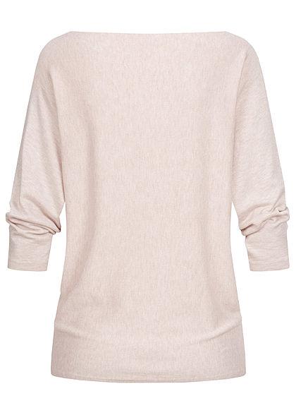 Hailys Damen 3/4 Fledermausarm Longform Pullover marl beige
