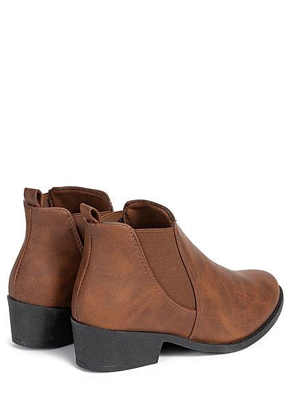 Seventyseven Lifestyle Damen Schuh Chelsea Boots Kunstleder Stiefelette camel braun