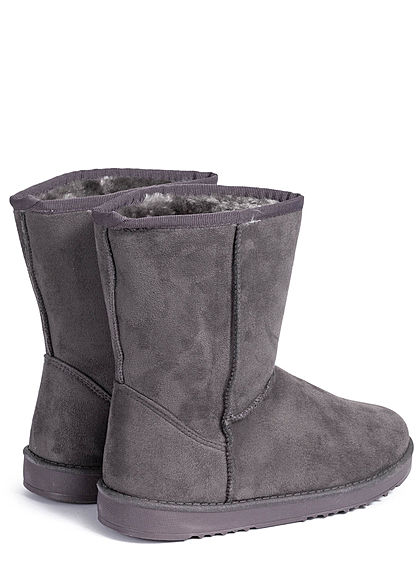 Seventyseven Lifestyle Damen Schuh Winter Boots Stiefelette Velour-Optik dunkel grau