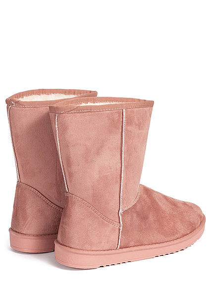 Seventyseven Lifestyle Damen Schuh Winter Boots Stiefelette Velour-Optik pink old rosa