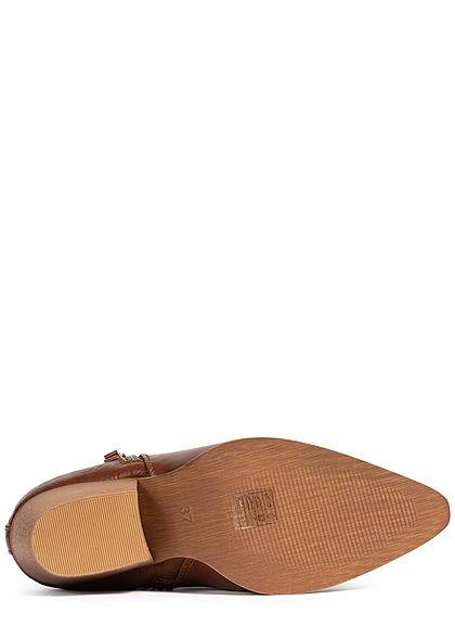 Seventyseven Lifestyle Damen Schuh Stiefelette Absatz 6,5cm Kunstleder camel braun