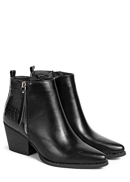 Seventyseven Lifestyle Damen Schuh Stiefelette Absatz 6,5cm Kunstleder schwarz