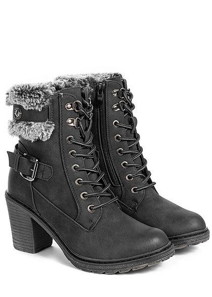 Seventyseven Lifestyle Damen Schuh Stiefelette Absatz 8cm Kunstleder schwarz