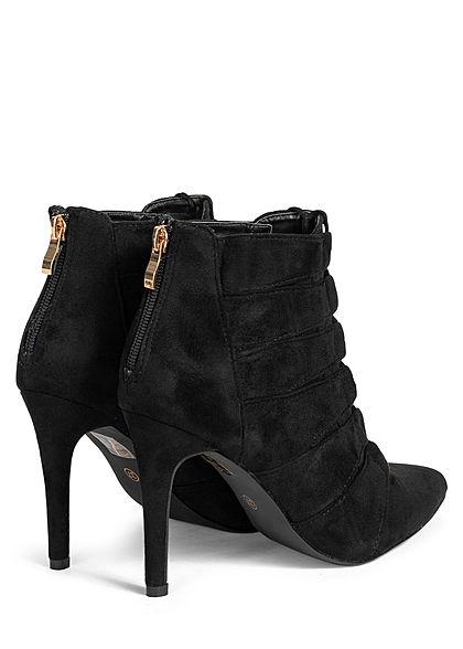 Seventyseven Lifestyle Damen Schuh Stiefelette Absatz 10cm Velour Kunstleder schwarz