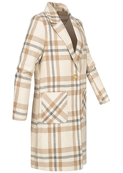 ONLY Damen Woll Coatigan Jacke 2-Pockets Karo Muster pumice stone beige