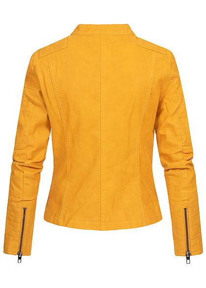 ONLY Damen NOOS Kunstleder Biker Jacke asymmetr. Zipper 2-Pockets golden gelb