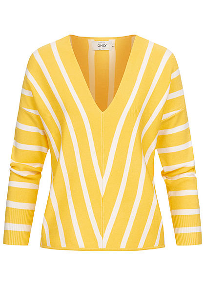 ONLY Damen 7/8 Arm Arrow V-Neck Pullover Streifen Muster lemon drop gelb weiss