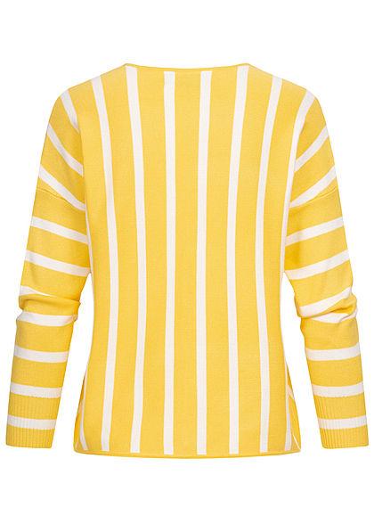 ONLY Damen 7/8 Arm Arrow V-Neck Pullover Streifen Muster lemon drop gelb weiss