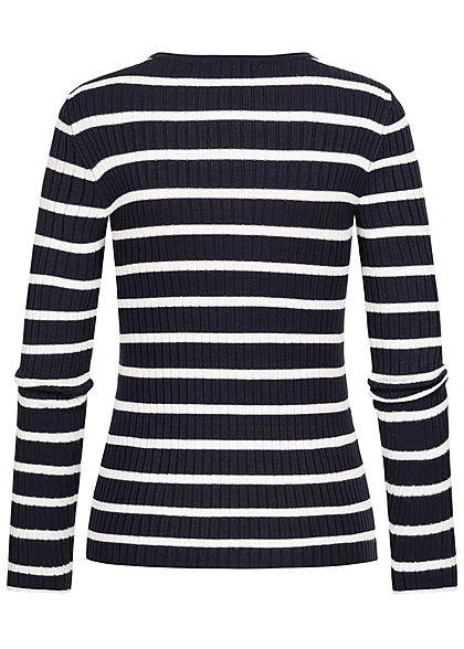 ONLY Damen NOOS Ribbed Pullover Streifen Muster night sky navy blau weiss
