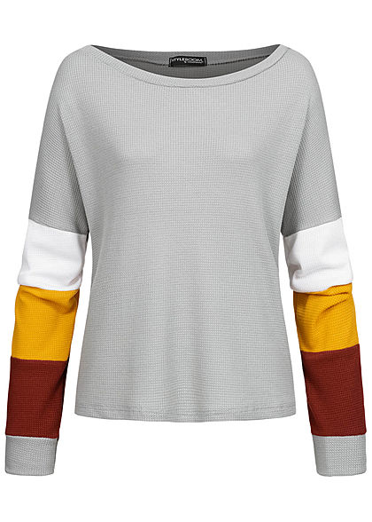 Styleboom Fashion Damen Colorblock Sweater Struktur- Stoff hell grau multicolor