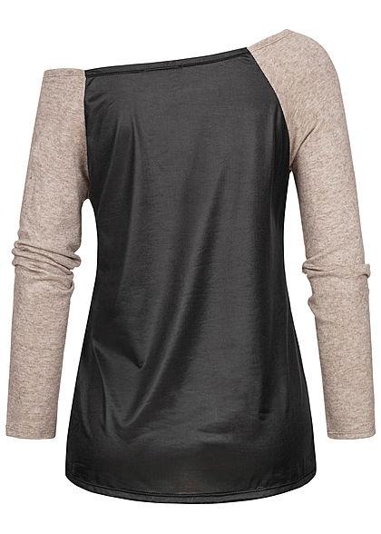 Styleboom Fashion Damen One-Shoulder 2-Tone Raglan Longsleeve schwarz fango braun