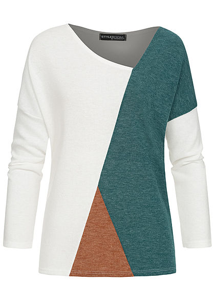 Styleboom Fashion Damen Colorblock Fledermausarm Sweater weiss petrol braun