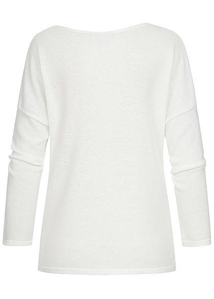 Styleboom Fashion Damen Colorblock Fledermausarm Sweater weiss petrol braun