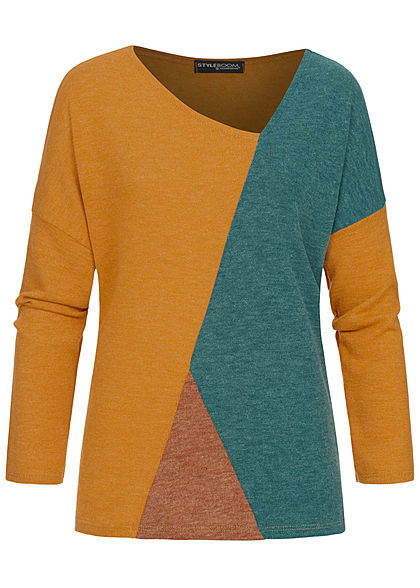 Styleboom Fashion Damen Colorblock Fledermausarm Sweater senf gelb petrol braun